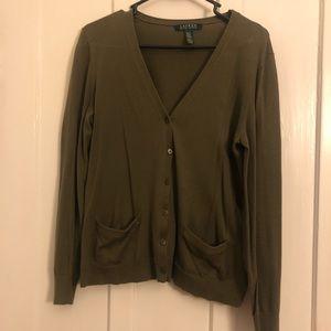 Ralph Lauren forest green button up cardigan
